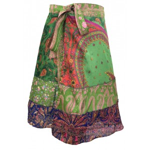 Fair Trade Short Sari Silk  Reversible Tiered Wrap Skirt - Green / Blue Design