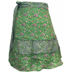 Fair Trade Short Sari Silk  Reversible Tiered Wrap Skirt - Shades of Green Design