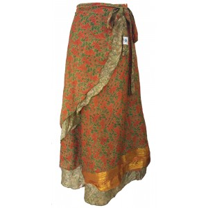 Fair Trade Full Length Vintage Sari Silk  Reversible Wrap Skirt - Orange / Green Design