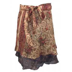 Fair Trade Short Sari Silk  Reversible Wrap Skirt - Yellow / Orange  Classic Design