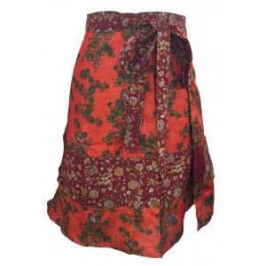 Fair Trade Short Sari Silk  Reversible Tiered Wrap Skirt - Orange / Red Design