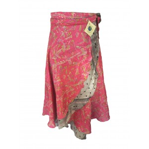 Fair Trade Full Length Vintage Sari Silk  Reversible Wrap Skirt - Pink / Silver Design