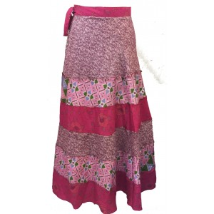 Fair Trade Tiered Full Length Sari Silk  Reversible Wrap Skirt - Red / Pink Design