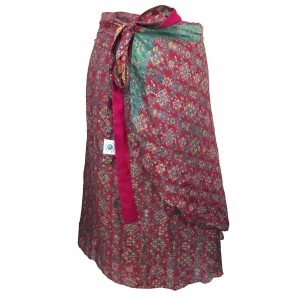 Fair Trade Short Sari Silk  Reversible Wrap Skirt - Red / Pink  Classic Design