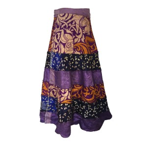 Fair Trade Tiered Full Length Sari Silk  Reversible Wrap Skirt - Blue / Purple Design