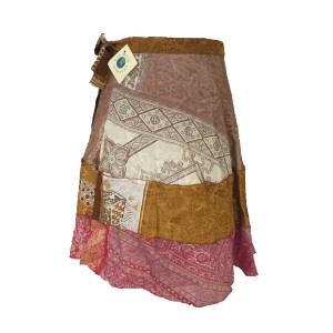 Fair Trade Short Tiered Sari Silk  Reversible Wrap Skirt - Pink / White Classic Design