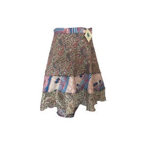 Fair Trade Short Tiered Sari Silk  Reversible Wrap Skirt - Blue / Grey  Classic Design
