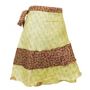 Fair Trade Short Sari Silk  Reversible Tiered Wrap Skirt - Yellow / Green Design