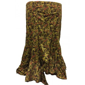 Fair Trade Fashionable Baby Cord Amelia Ruffle Skirt - Red Flowers on Chocolate Brown Design
