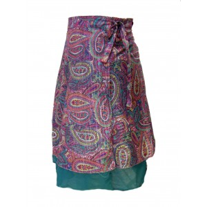 Fair Trade Double Layered Midi Length Swish Wrap Skirt - Pinks and Greens with Deep Green Underskirt