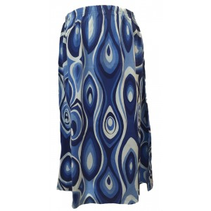 Fair Trade Cotton Jersey Elasticated Retro Spiral Skirt - Shades of Blue