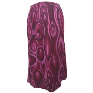 Fair Trade Cotton Jersey Elasticated Retro Spiral Skirt - Maroons and Pink