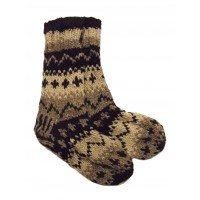 Handknitted Fair Trade Woollen Black & White Fleece Lined Slipper Socks