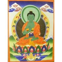 Genuine Original Tibetan Buddhist Thangka Painting - Amoghasiddhi, Buddha of the Conceptual Mind - Fair Trade