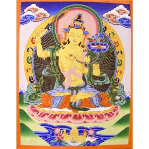 Genuine Original Tibetan Buddhist Thangka Painting - Majushri , Boddhisattva of Transcendent Wisdom - Fair Trade