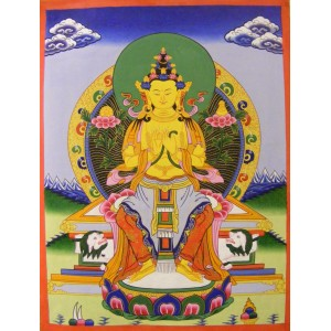Genuine Original Tibetan Buddhist Thangka Painting -  White Tara, Goddess of Compassion - Fair Trade