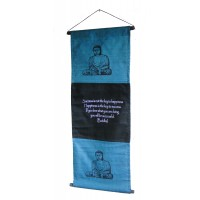 Blue Buddha Affirmation Wall Hanging / Banner 100% Cotton - Fair Trade