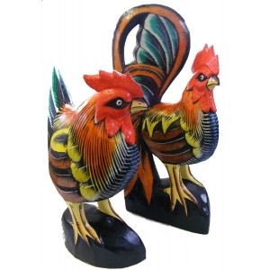 Wooden Cock & Hen / Chicken Statue / Carving / Ornament - Hand carved, Hand painted - Fair Trade