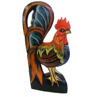 Hand carved, hand painted Wooden Hen / Chicken Statue / Carving / Ornament - Fair Trade