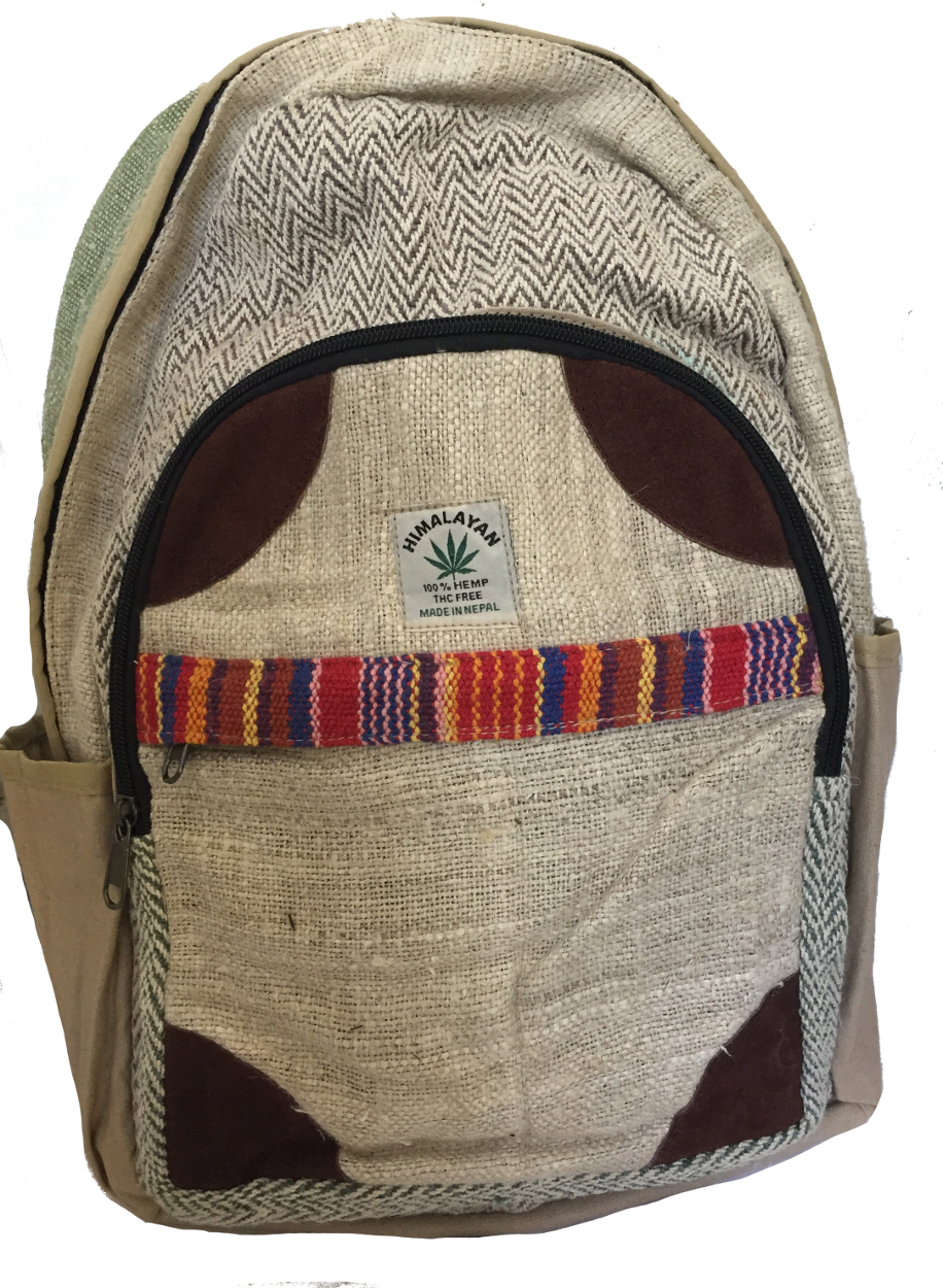 e8b8d109a600 Genuine Himalayan Hemp Backpack Rucksack   College Bag - Handmade in Nepal  - Colourful - THC Free Fair Trade