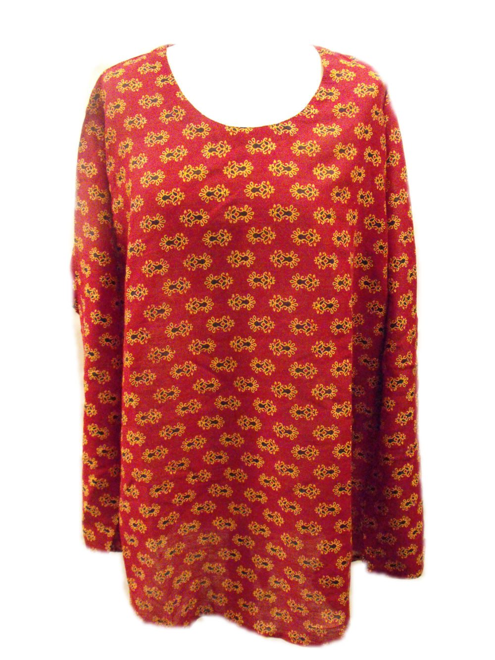 29202c1017df8 Baggy Maroon Pretty Blockprint Cotton Maternity Blouse - Fair Trade