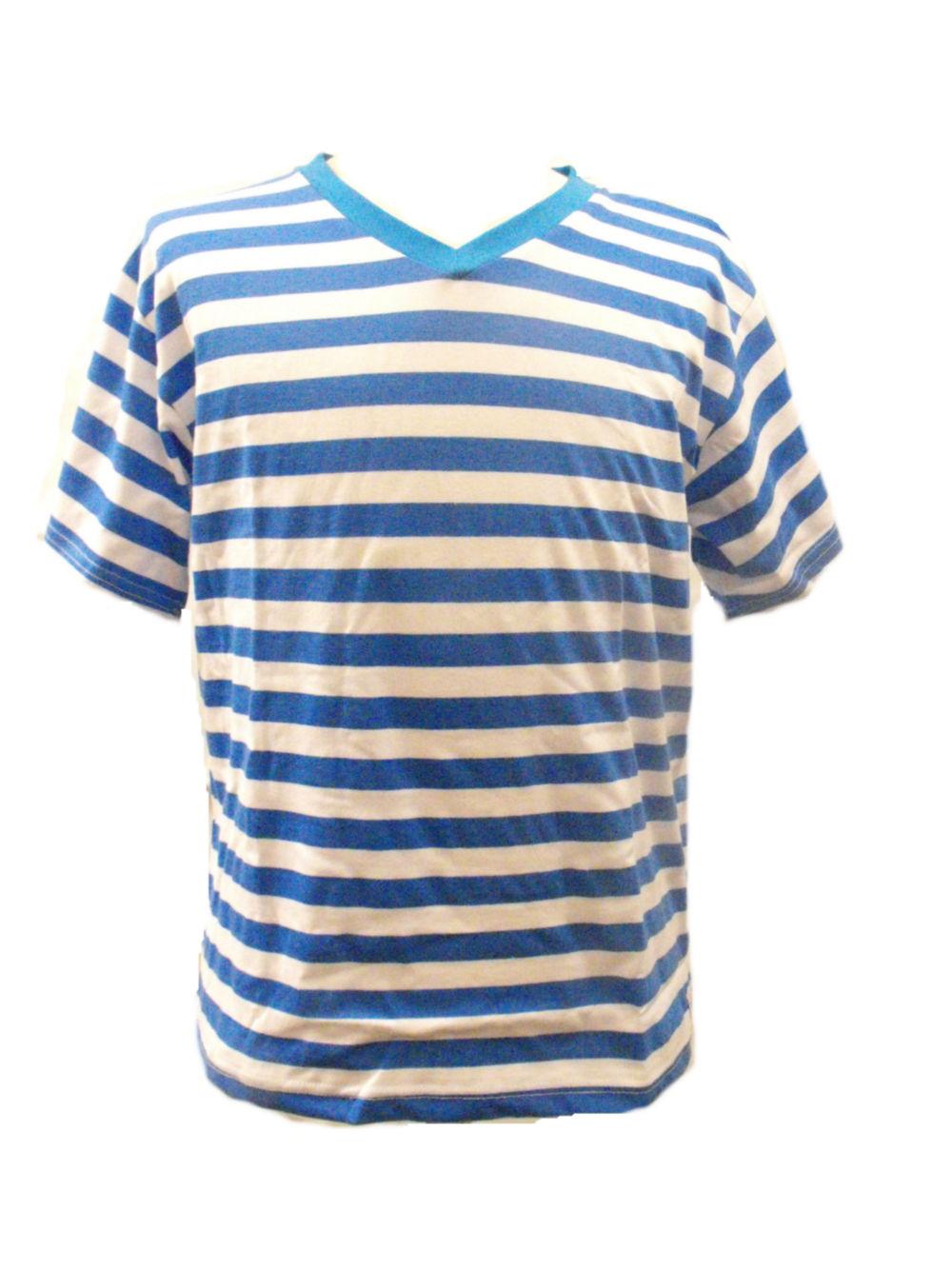 Fair Trade 100 Cotton Classic Stripey Blue White Mens T