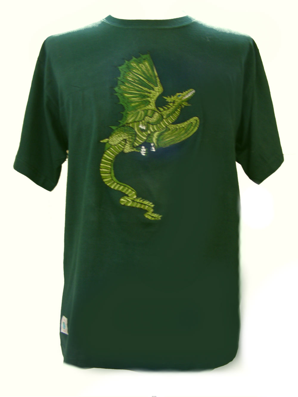 Fair Trade Embroidered Green Dragon T Shirt Green T Shirt