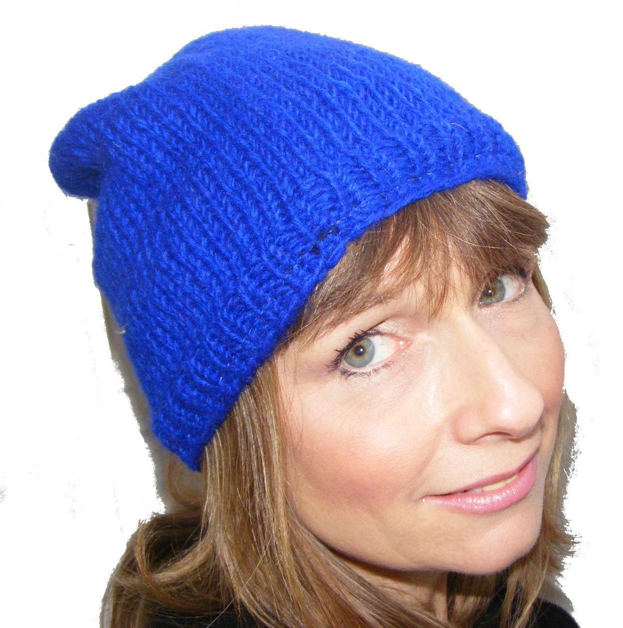 fe4b43cd0da9c Cool Handknitted Woollen Blue Slouch Beanie Hat with fleece lining ideal  for skaters and snowboarders ...