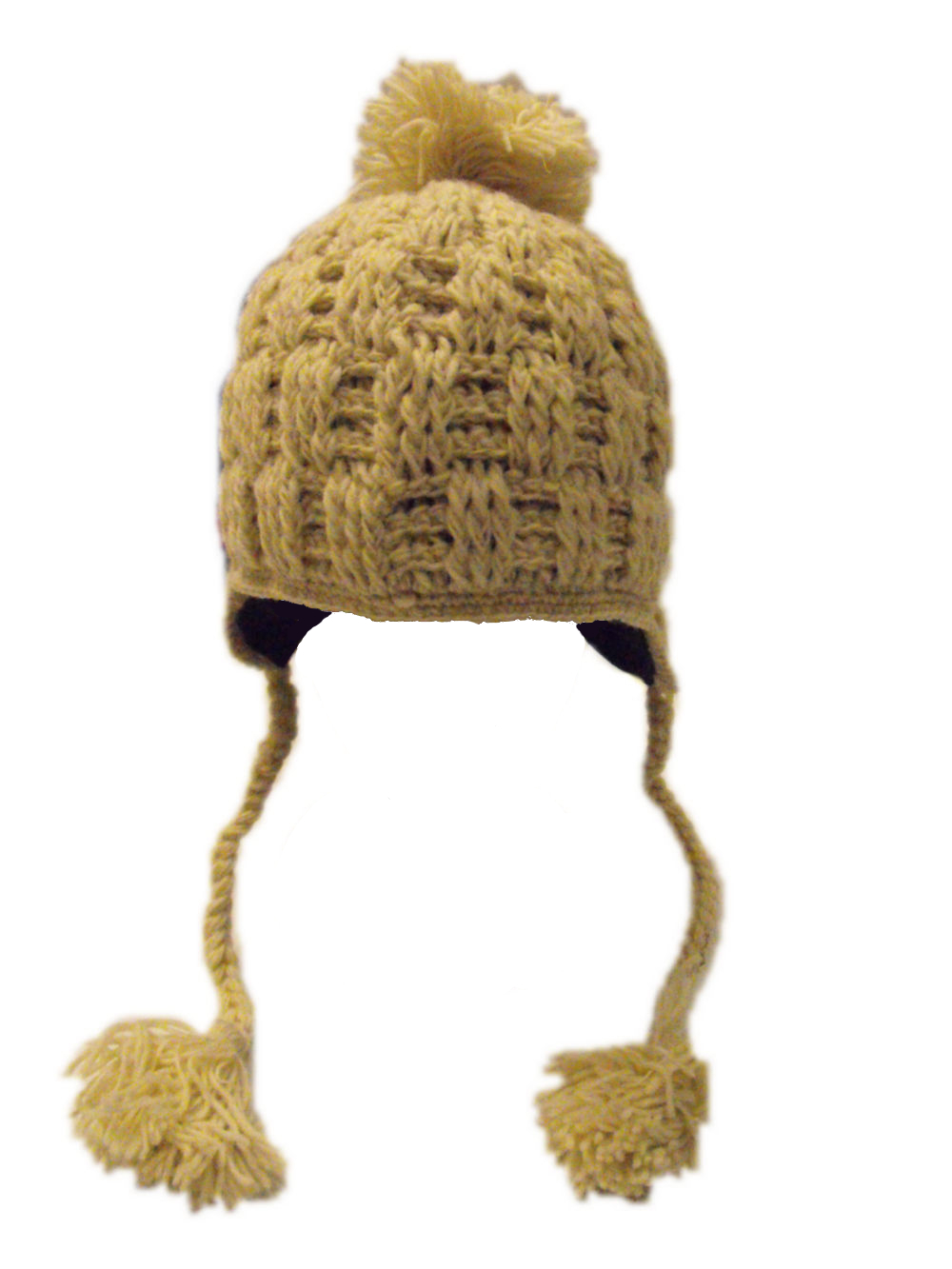 cf13c0e3bee Hand knitted fleece lined Cream Cableknit Woollen Earflap Hat with bobble -  fair trade - 100% wool