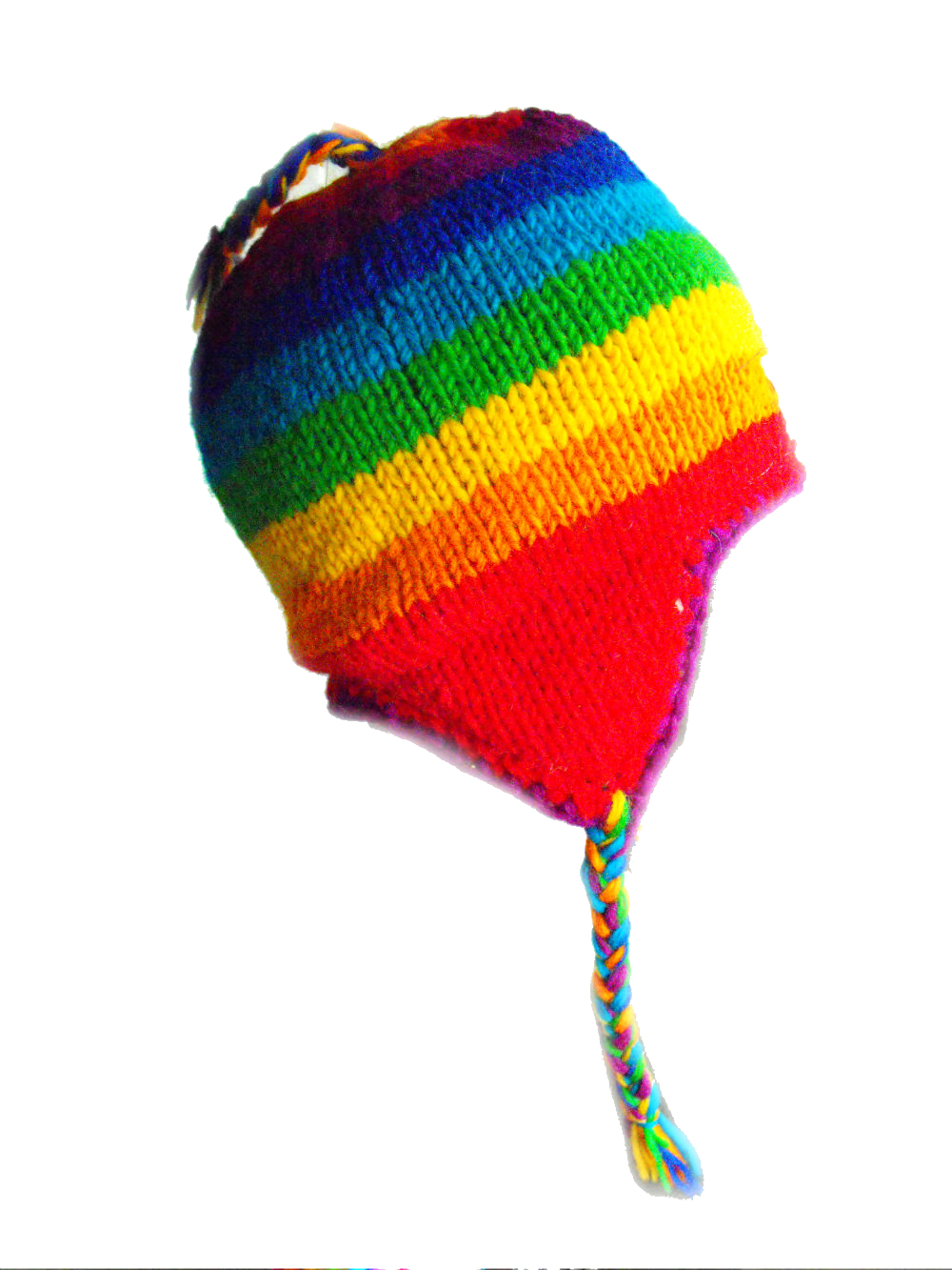 77b3a0230ae911 Hand Knit Wool Children's Rainbow Earflap Hat - Fair Trade