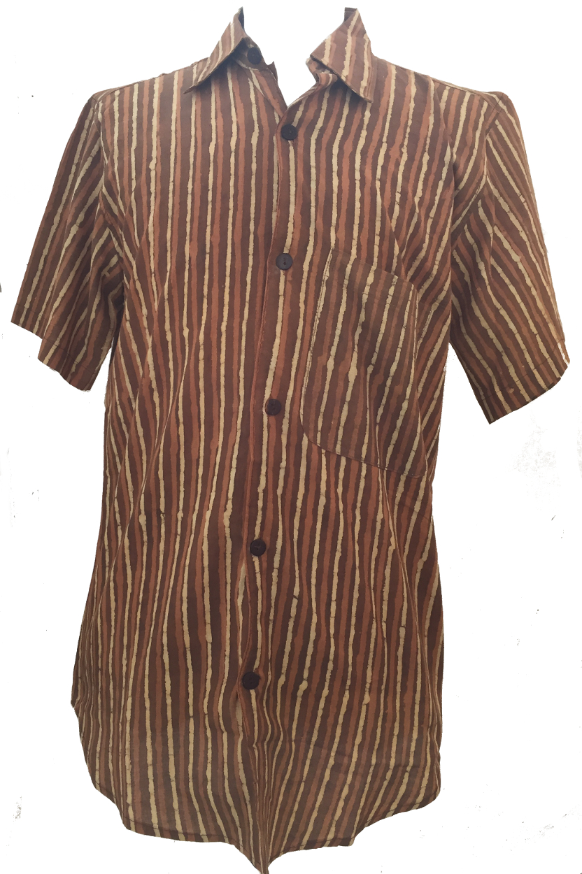 Light brown dark brown striped blockprint cotton mens for Black brown mens shirts