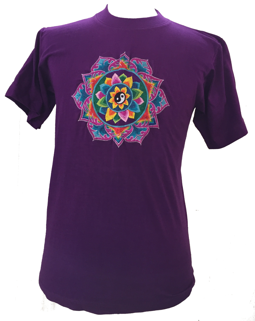 Fair trade embroidered yin yang mandala t shirt purple