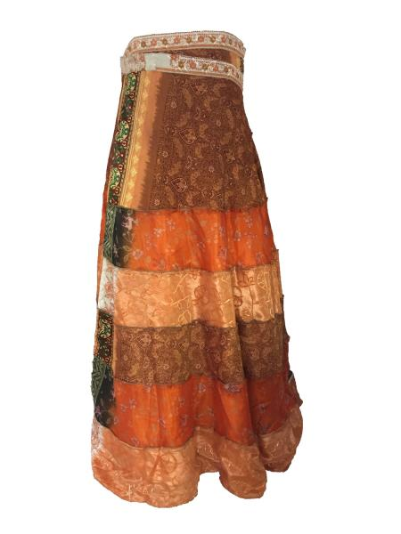 Fair Trade Tiered Full Length Sari Silk  Reversible Wrap Skirt - Orange / Brown Design