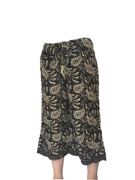 Fair Trade Black and Cream Print Drawstring Cropped 3/4 Length Trousers