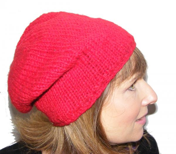 Cool Handknitted Woollen Red Slouch Beanie Hat with fleece lining ideal for skaters and snowboarders