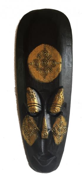 Fair Trade Handcarved Wooden Indigenous 50 cm Borneo Tribal 'Gold' Mask