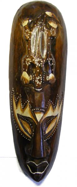 Fair Trade Small Handcarved Wooden 30cm Indigenous ' African Style ' Borneo Tribal 'Gecko' Mask