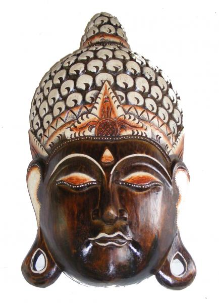 Hand Carved Large Natural Wooden Balinese Buddha Mask