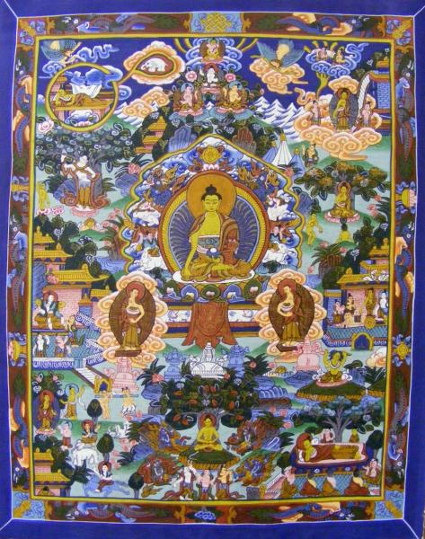 Genuine Original Tibetan Buddhist Thangka Painting - Life of the Buddha - Fair Trade