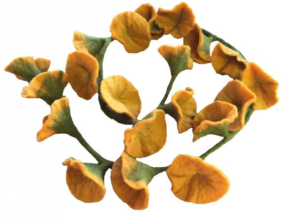 Beautiful Garland of 20 Yellow Hand Felted Flowers on a Green Vine - Fair Trade