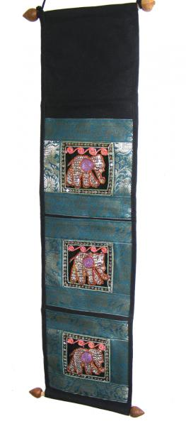 Thai Blue Sequined Elephant Letter Holder/ Banner - Fair Trade