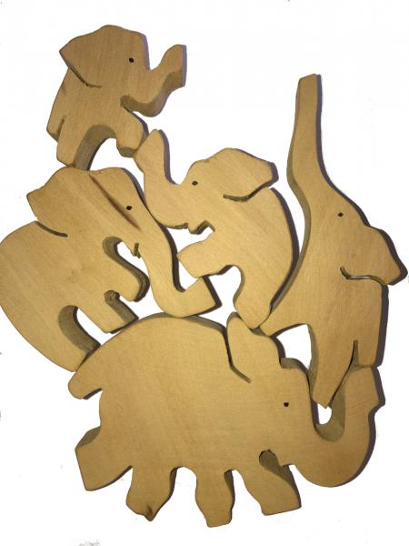 Natural Wooden Balancing Elephants Puzzle / Toy - Fairtrade - Suitable for both adults and children