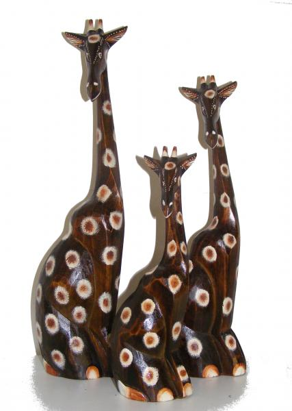 Fair Trade Hand Carved Wooden Sitting Giraffe - choices of 3 sizes