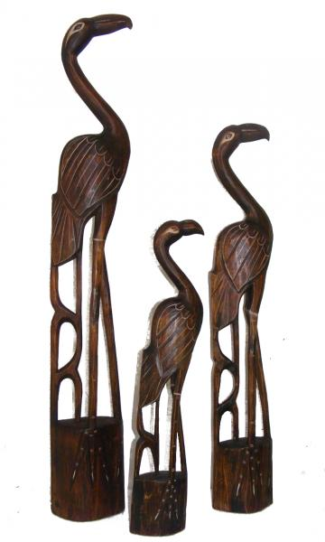 Fair Trade Hand Carved Wooden Flamingoes - choice of 3 sizes