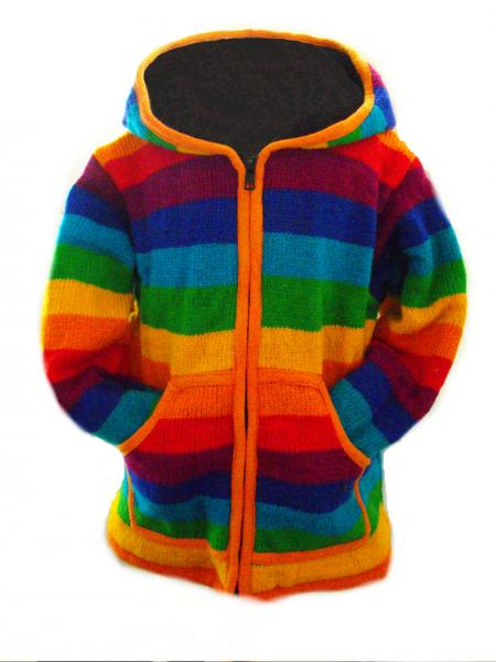 Fair Trade Rainbow Woollen Fleece lined Jacket