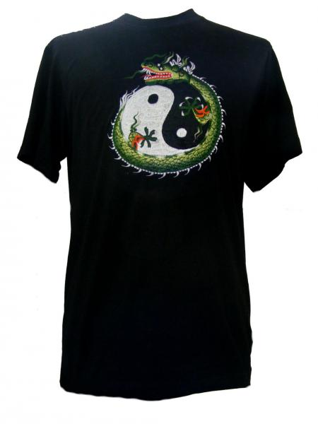 Fair Trade Embroidered Green Chinese Dragon with Yin Yang T Shirt