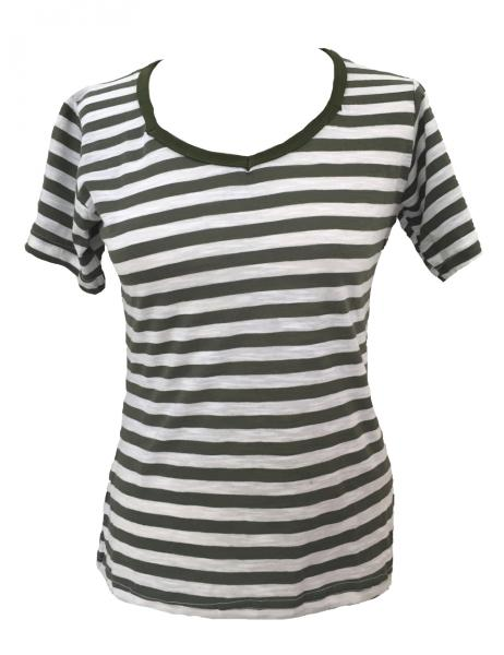 Fair Trade 100% Cotton Classic Stripey Green / White Ladies Fitted T Shirt