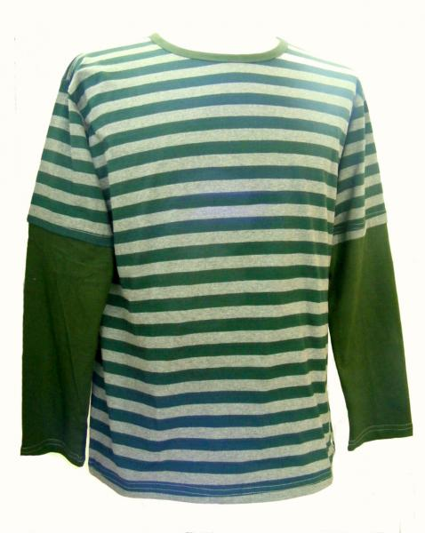Fair Trade 100% Cotton Classic Stripey Green / Grey Mens Long Sleeve T Shirt