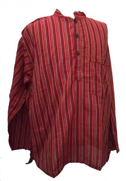 Red Striped 100% Cotton Collarless Grandad Shirt - Fairtrade