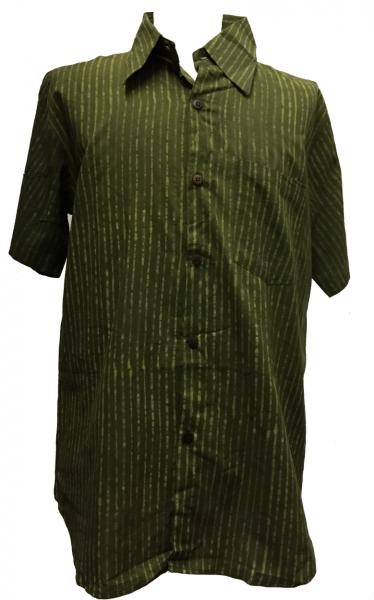 Light Green / Dark Green Striped Blockprint Cotton Mens Short Sleeve Shirt - Fair Trade